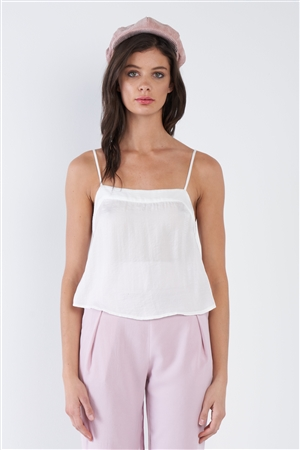 Off-White Sheer Silk Mini Side Slit Cami Top