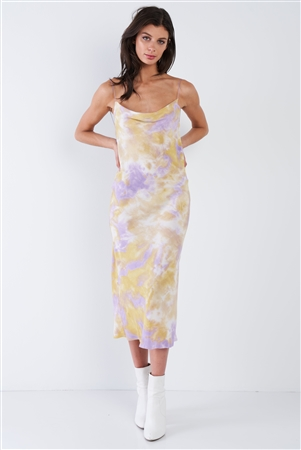 Lavender Purple & Yellow Tie Dye Cowl Neck Open Back Midi Dress