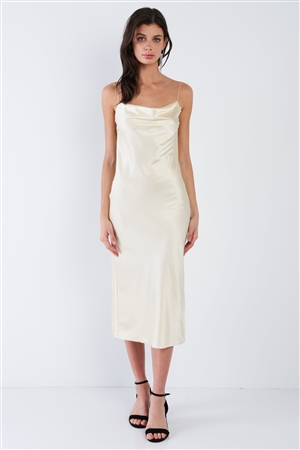 Champagne Yellow Silk Cowl Neck Raw Hem Midi Summer Dress