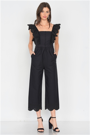 Black Cotton Eyelet Flounce Trim Wide Leg Jumpsuit