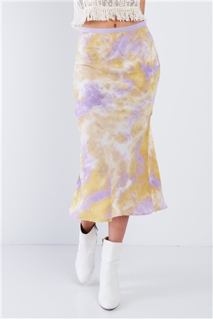 Lavender High Waisted Tie Dye Satin Midi Skirt