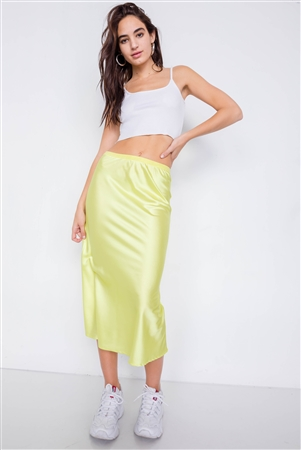 Retro Neon Lime Silk Round Hem Midi Skirt