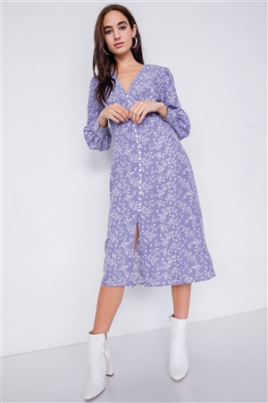 Lavender White Modern Floral Mid Center Slit Chic Midi Dress