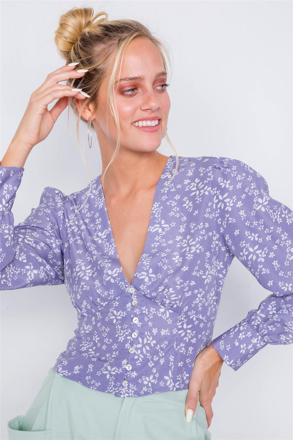 Vintage Lavender Puff Sleeve Floral Print Chic Crop Top