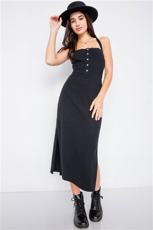 Black Linen Lace-Up Open Back Midi Slit Casual Chic Dress