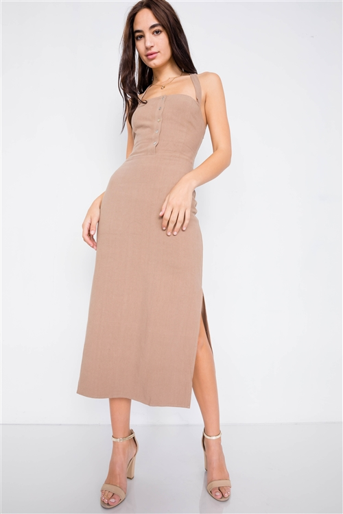 Khaki Linen Lace-Up Open Back Midi Slit Casual Chic Dress