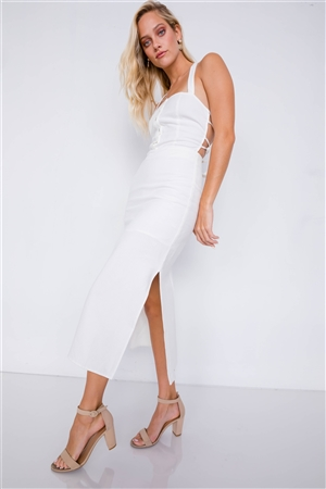 Off-White Linen Lace-Up Open Back Midi Slit Casual Chic Dress