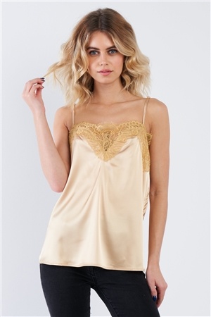 Golden Yellow Satin Lace V-Neck Adjustable Cami Top