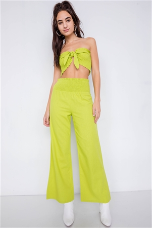 Lime Cotton Cotton Bow Ruched Bandeau & Vintage High-Waist Ruffle Trim Pant Set