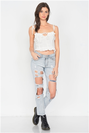 Off-White Cotton Self Tie Cami Strap Center Bow Cut Out Top