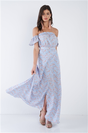 Sky Blue Boho Floral Off-The-Shoulder Maxi Dress