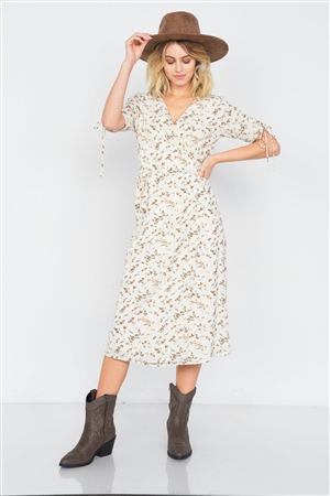 Off-White Boho Floral Print Midi Dress