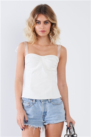 Off-White Sheer Self Tie Straps Sweetheart Neckline Crop Top