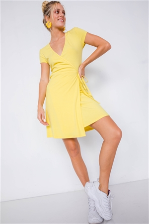 Yellow Cotton Ribbed V-Neck Casual Wrap Mini Dress