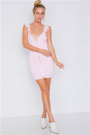 Pink Ruched Bodice V-Neck Ruffle Eyelet Trim Classic Mini Dress