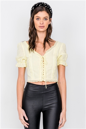 Yellow Eyelet V-Neck Lace Up Puff Sleeve Boho Crop Top