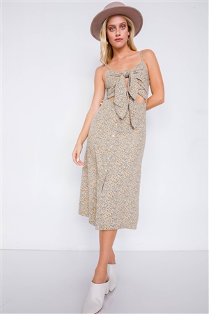 Beige Minimalist Floral Print Center Cut Out Chic Midi Dress
