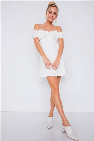 Vintage Off-White Linen Off-The-Shoulder Frill Trim Cap Sleeve Mini Dress /1-1-1