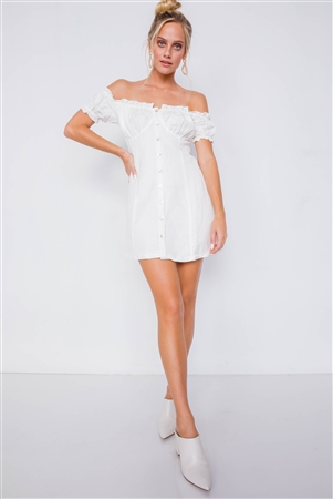 Vintage Off-White Linen Off-The-Shoulder Frill Trim Cap Sleeve Mini Dress