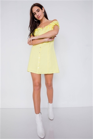 Vintage Yellow Linen Off-The-Shoulder Frill Trim Cap Sleeve Mini Dress