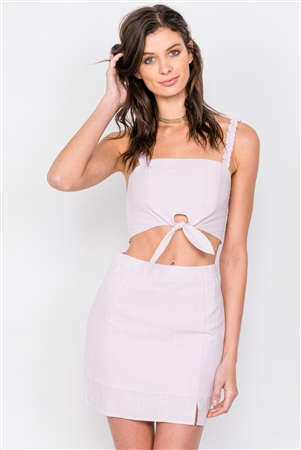 Lavender Pink Crop Front Knot & Mini Skirt Set