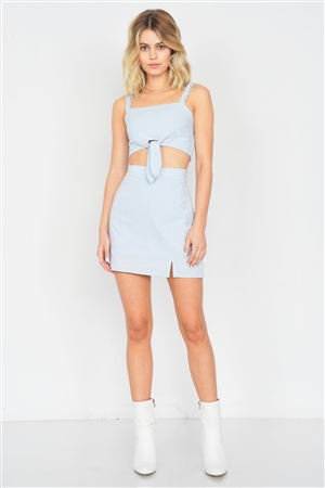 Sky Blue Crop Front Knot & Mini Skirt Set