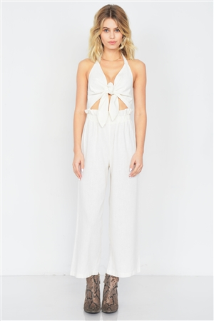 Ivory Cotton Center Cut Out Ankle Wide Leg Jumpsuit