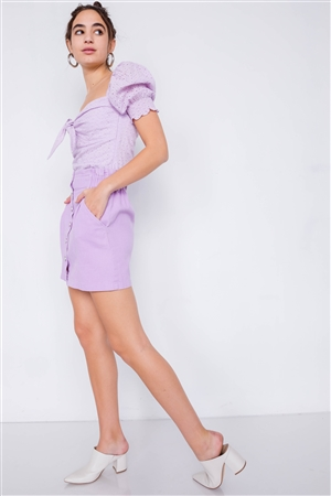 Lavender Cotton Front Button Ruffle Trim High Waist Mini Skirt