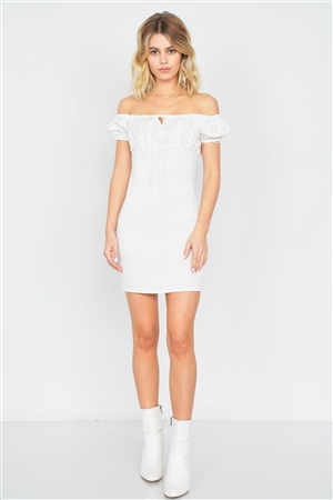 Off-White Square Neck Ruched Center Keyhole Mini Dress