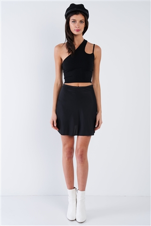 Black Silk Flare Raw Hem Solid Mini Skirt