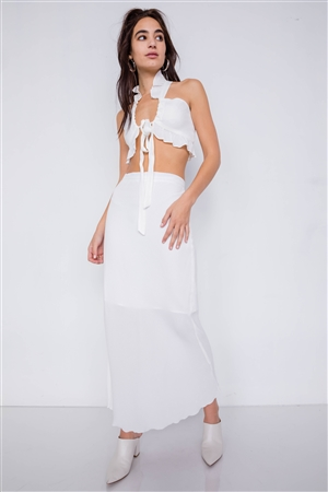 Off-White Mini Boho Lace Up Crop Top & High-Waist Frill Trim Maxi Skirt Set