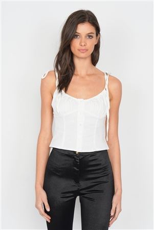 Off-White Button Down Bustier Crop Top
