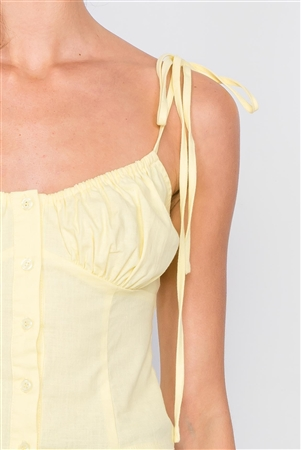 Yellow Button Down Bustier Crop Top