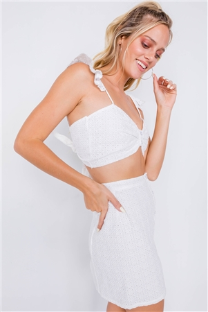 Off-White Eyelet Open Back Ruffle Trim Cop & Vintage Mini Skirt Set