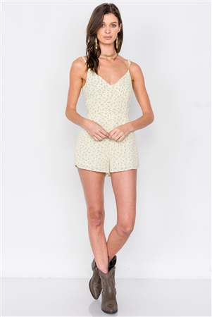 Lemonade Yellow Boho Floral Mini Chic Casual Romper