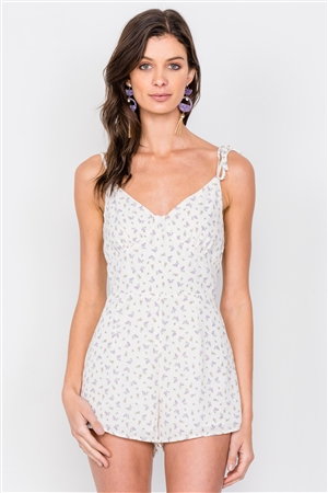 Off-White Boho Floral Mini Chic Casual Romper