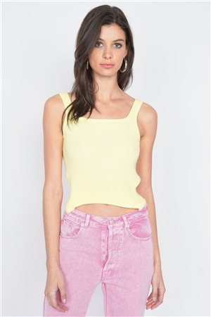 Yellow Ribbed Open Back Bow Casual Cami Top