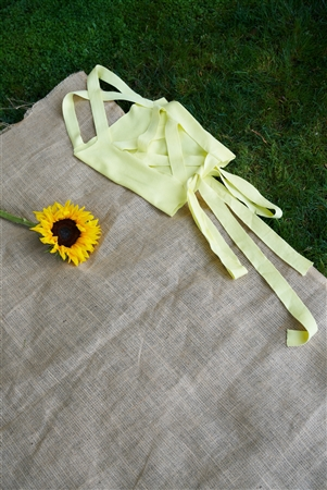 Yellow Lace-Up Open Back Sleeveless Crop Top