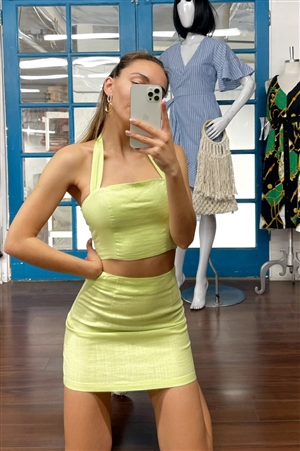 Lemonade Lime Green Smocked Crop Halter & Chic Mini Skirt Set