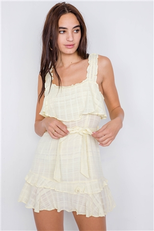Lemonade Cotton Layered Frill Embroidered Plaid Print Chic Mini Dress