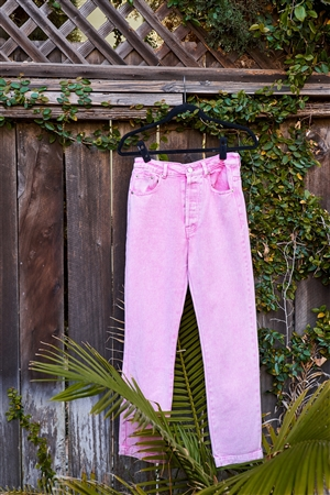 Pink Cotton Denim Acid Washed Boot Cut Jeans