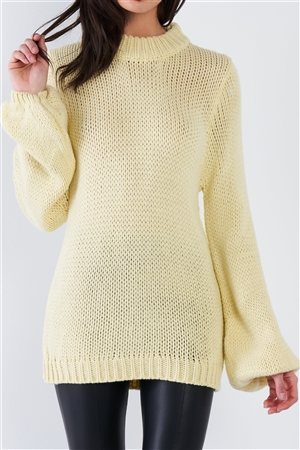 Yellow Knit Oversized Scoop Neck Sweater