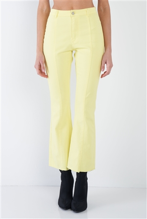 Yellow Denim Cotton Casual Front Pleat Jeans