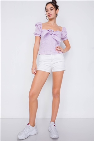Lavender Floral Eyelet Office Chic Square Neck Front Bow Top