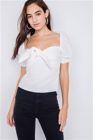 Off-White Floral Eyelet Office Chic Square Neck Front Bow Top