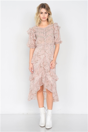 Dusty Rose Watercolor Floral Print Middle Slit Lace Sheer Trim Midi Dress