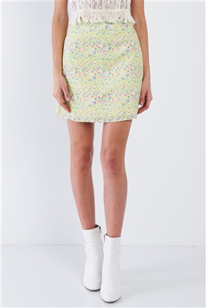 Lemon Yellow Floral Print Mid Rise Mini Floral Skirt