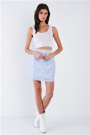 Sky Blue Floral Print Mid Rise Mini Floral Skirt