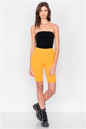 Orange Stretchy Athletic Biker Shorts