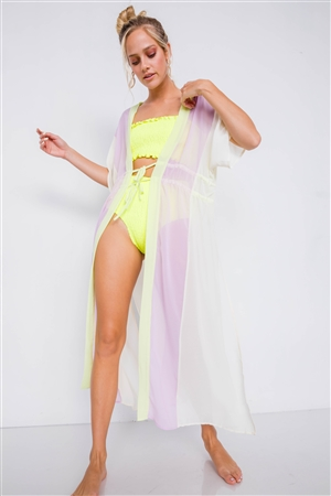 Lemonade Color Block Sheer Waist Tie Maxi Cover-Up Kimono